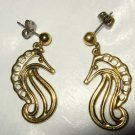 "Avon seahorse cut-out dangle gold plated pierced earrings 1.5"" x 1"""