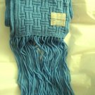 "Echo Soft blue acrylic basketweave knit long fringe scarf MINT 74"" x 7"""