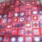 "V E Delure pink red blue silk handmade scarf 20"" sq NWOT fish star squares signd"