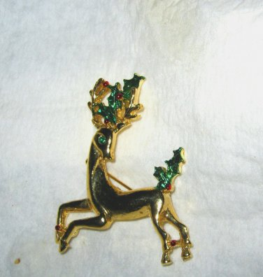 "Gerry gold tone green red enamel & rhinestone raindeer 2"" pin brooch MINT signed"