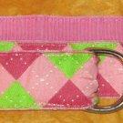 "Eliza B pink green argyle fabric D ring cinch belt S 36"" x 1.5"" MINT"
