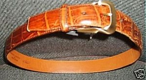 "Brighton moc croc camel tan calfskn leather 1"" belt S 28 MINT Brass buckle"