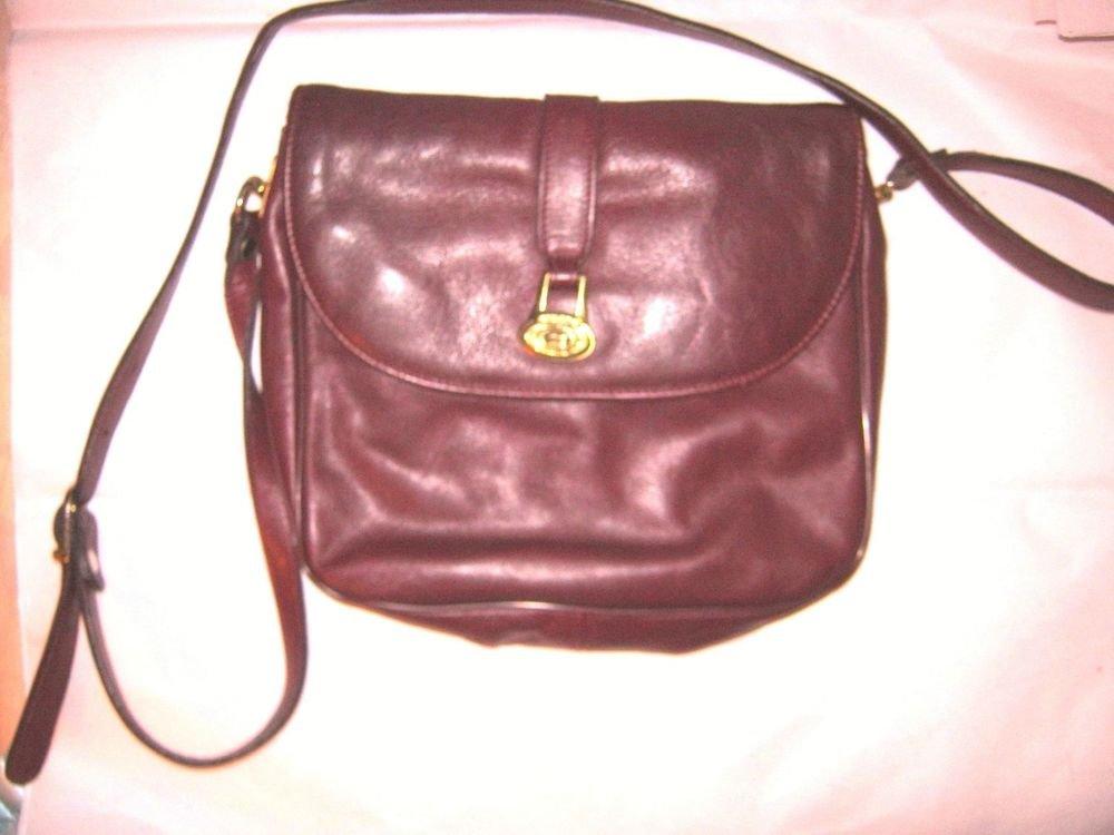 VTG Ettenne Aigner burgundy leather messenger shoulder bag purse EC
