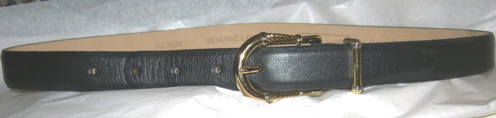 "Talbots black leather belt M 35"" x 1"" EC made in USA gold & silver tone buckle"