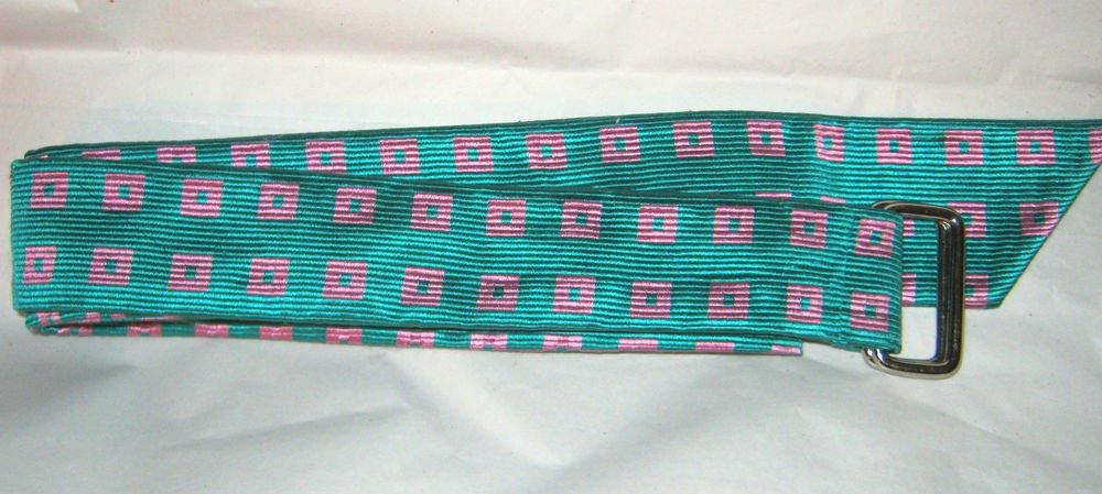 "Talbots green pink fabric d ring buckle belt M 40"" x 1.75"" NWT"