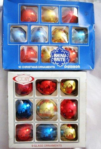 "10 Shiny Brite 2.25"" & 9 Coby 2.5"" Mercury glass ball Christmas Ornaments  box"