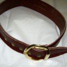 "VTG Simon Creations Gieger burgundy leather wide belt XS 26"" x 2""  gold buckle"