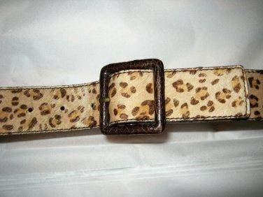 Tan cat print cowhide hair leather belt S NEW 33 x 1.75