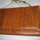 VTG tan snakeskin soft leather envelope bag purse MINT