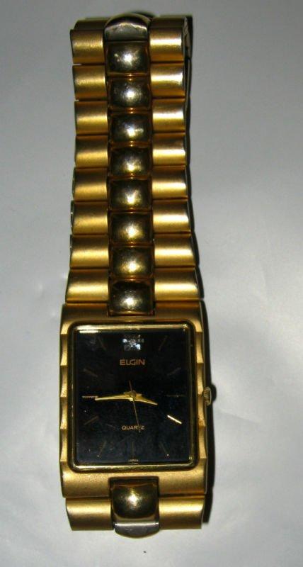 Elgin gold tone diamond bracelet watch MINT black face