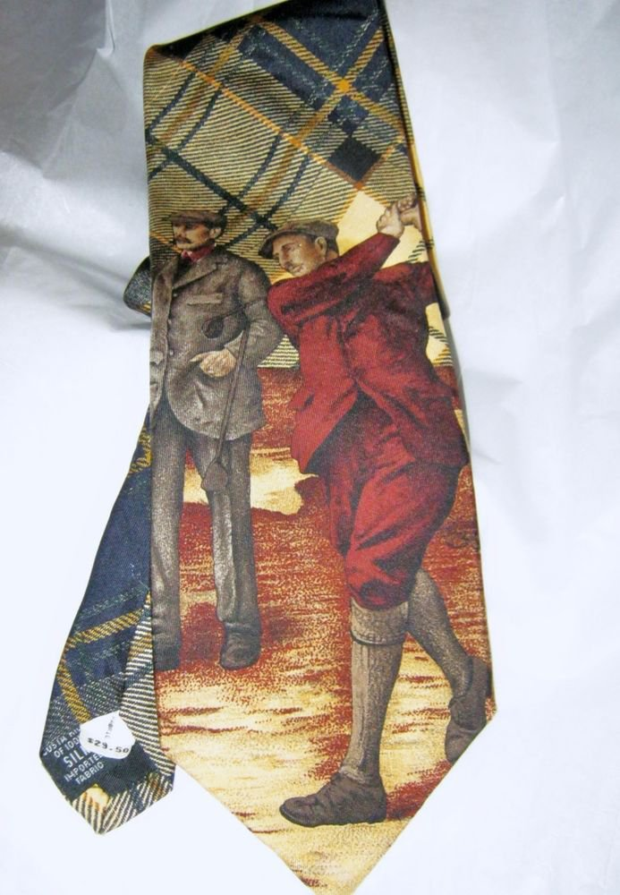"VTG Bill Blass Country golf yellow back tartan 100% silk 4"" blade tie"