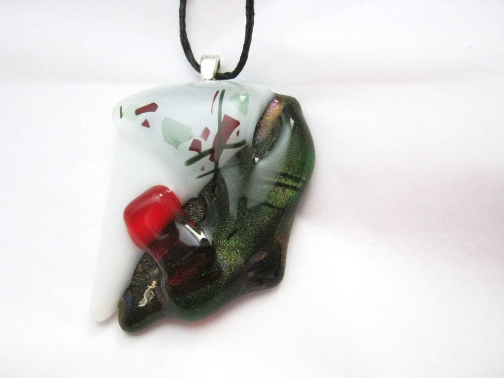 """Abstract green black white red fused glass 1.75"""" x 1.25"""" large pendant USA"""
