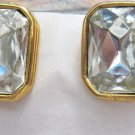 "Clear emerald cut glass Rhinestone gold tone clip earrings 3/4"" x 1/2"""
