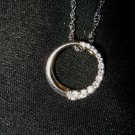 "925 Sterling Silver 1/2"" CZ round ring pendant & twist chain 20"" necklace 3g"