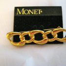 "Monet link chain bar gold tone brooch pin 2.5"" x 1/2"" signed NOS"