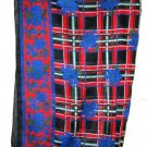 "1987 Ginnie Johansen red blue floral plaid cotton large scarf 33"" sq. signed"