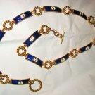 vintage Gucci navy white enamel gold tone logo toggle link belt 1970's signed