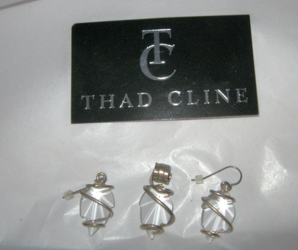"Thad Cline 925 sterling silver clear large 1"" swarvoski earrings & pendant set"