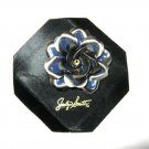 "Jaclyn Smith Blue Silver Rose stacked silver metal enameled 2.25""  pin brooch"