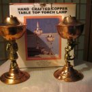 Irvine Charm & Design Copper Santa & Angel table torch lamp set NIB