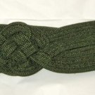 "VTG Dark Green Knot cord wide cinch belt M up to 30"" x 2.5"" Velcro back closure"