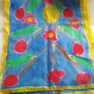 "Handmade floral yellow blue green red multi color silk long scarf wrap 70"" x 14"""
