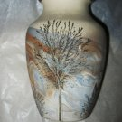"Sevierville Pottery mixed clay incised tree landscape vase 6"" marked Tennessee"