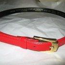 VTG Liz Claiborne red analine leather M skinny belt gold tone buckle 1990