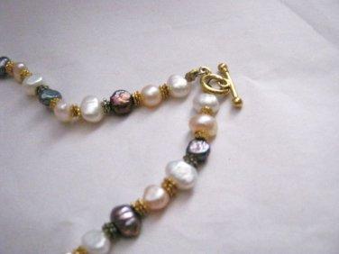 """Freshwater Baroque Pearl white black aurora tri-color 18"""" necklace strand"""