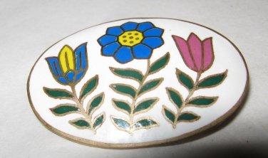"Vintage Floral enamel oval pin brooch 1.5"" marked Thailand"