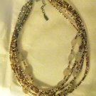 Vtg Peyote Bird Designs rutilated quartz bead multi strand choker necklace 925