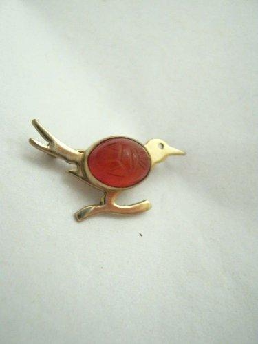VTG WRE W E Richards 12K GF gold filled scarab jelly belly Roadrunner pin Small