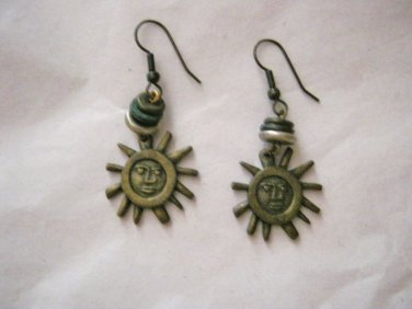 "The Limited Sun tribal bead bronze tone dangle hook earrings 1.5"""