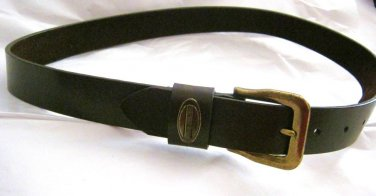 "New York Jeans brown leather belt  29-33"" x 1.25"" antique gold metal buckle"