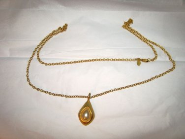 "Express faux pearl pendant 34"" gold tone long chain necklace w/logo tag"