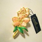 VTG Camille pink green enamel floral gold tone pin brooch NOS w/ tag  USA