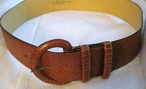 "VTG 50's Ben King snakeskin leather wide belt 12 up to 32"" x 2""  buckle matches"