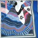"Marco Corsari ethnic women black blue gray red  scarf 30"" square signed"
