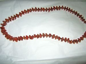 "Vintage Carnelian pebble stone gold tone bead 19""  long necklace"