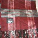"Christian Dior Cashmaire black burgundy gray plaid long scarf 48"" x 11"" Japan"