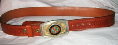 "Tan leather western belt 32- 35"" x 1.5"" custom turquoise walnut buckle vintage"
