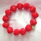 Tarina Tarantina red rose bead plastic stretch bracelet
