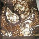 "Adrienne Landeau brown paisley leopard print silk long scarf  52"" x 11"""
