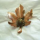 "Copper tooled leaf w/ brown Lucite cabochon brooch pin 2.25 "" x 1 .75"""