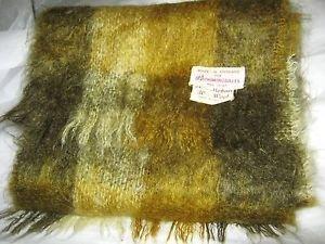 "VTG Bloomingdales green gray plaid Mohair Wool long scarf  44"" x 9"" England"