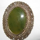 """50's Vermeil Sterling filligree & Jade 1.5"""" x1.25"""" brooch/pendant by Karen Lynne"""