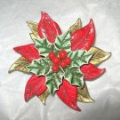 "Vintage Poinsettia Holly Miraculous Metal articulated celluloid  2"" pin brooch"
