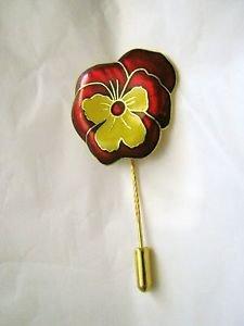 """Pansy Cloisonne enamel burgundy & yellow gold tone 2.25"""" Stick Pin"""