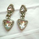 "Runway style large 2.5"" rhinestone dangle post pierced earrings silver tone"
