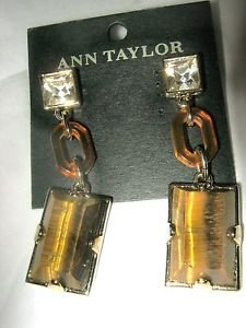 Ann Taylor rhinestone tiger eye stone amber lucite dangle pierced post earrings